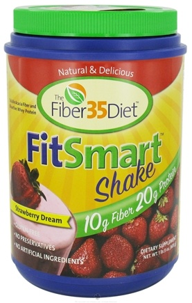 DROPPED: Fiber 35 Diet - FitSmart Protein Fiber Shakes Strawberry Dream - 1.7 lbs.
