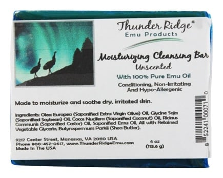 Thunder Ridge Emu Products - Emu Bar Soap Unscented - 1 Bars