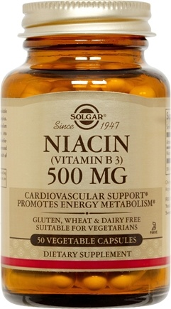 DROPPED: Solgar - Niacin (Vitamin B3) 500 mg. - 50 Vegetarian Capsules CLEARANCE PRICED