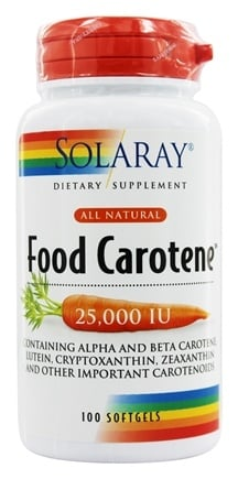 Solaray - Food Carotene All Natural 25,000 IU Vitamin A Activity - 100 Softgels