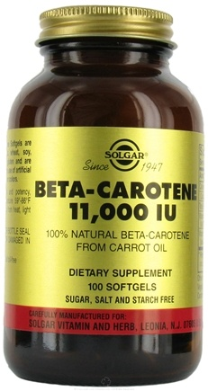 DROPPED: Solgar - Beta Carotene (Carrot Oil) 11000 IU - 100 Softgels