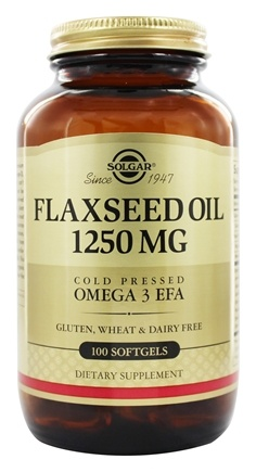 Solgar - Flaxseed Oil Cold Pressed Omega 3 EFA 1250 mg. - 100 Softgels