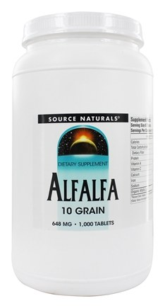 Source Naturals - Alfalfa 648 mg. - 1000 Tablets