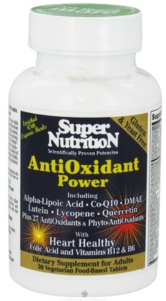 DROPPED: Super Nutrition - Antioxidant Power - 30 Vegetarian Tablets CLEARANCE PRICED