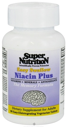 DROPPED: Super Nutrition - Easy Swallow Niacin Plus - 90 Tablets CLEARANCE PRICED