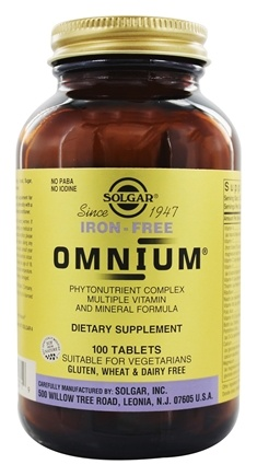 Solgar - Omnium The Advanced Phytonutrient-Rich Multiple Iron Free - 100 Tablets