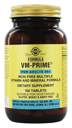 Solgar - Formula VM-Prime Vitamin & Mineral Formula For Adults 50+ Iron-Free - 100 Tablets