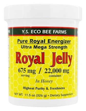 YS Organic Bee Farms - Royal Jelly In Honey Pure Roal Energizer Ultra Mega Strength 22000 mg. - 11.5 oz.