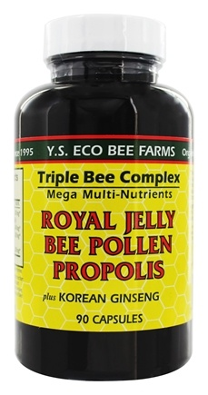 YS Organic Bee Farms - Triple Bee Complex + Royal Jelly, Bee Pollen,Propolis & Korean Ginseng - 90 Capsules