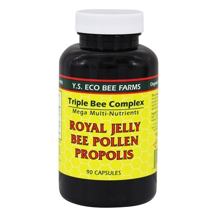 YS Organic Bee Farms - Triple Bee Complex Royal Jelly Bee Pollen Propolis - 90 Capsules