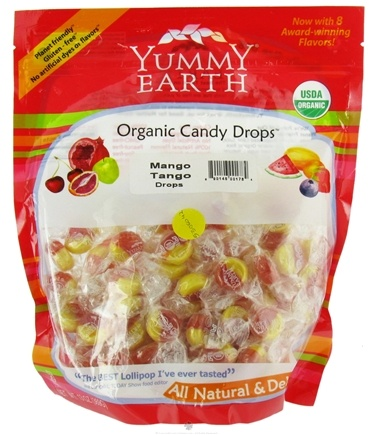 DROPPED: Yummy Earth - Organic Candy Drops Gluten Free Mango Tango Flavor - 13 oz.