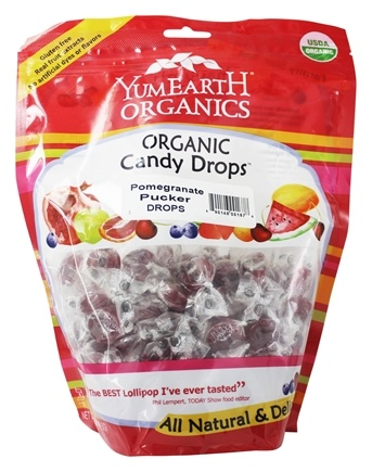 Yummy Earth - Organic Candy Drops Gluten Free Pomegranate Pucker Flavor - 13 oz.