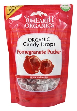Yum Earth - Organic Candy Drops Gluten Free Pomegranate Pucker Flavor - 3.3 oz. (93.5g)
