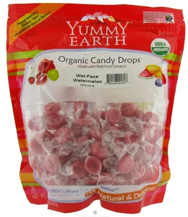 DROPPED: Yummy Earth - Organic Candy Drops Gluten Free Wet-Face Watermelon Flavor - 13 oz. CLEARANCE PRICED