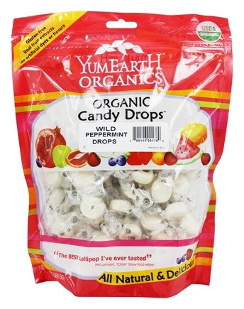 Yummy Earth - Organic Candy Drops Gluten Free Wild Peppermint Flavor - 13 oz.