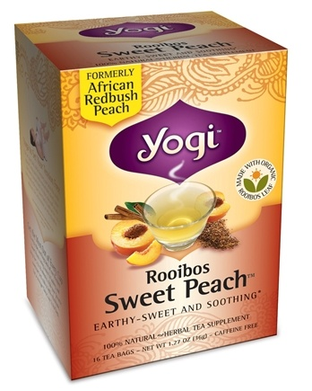 DROPPED: Yogi Tea - Rooibos Sweet Peach Organic Tea Caffeine Free - 16 Tea Bags Formerly African Redbush Peach