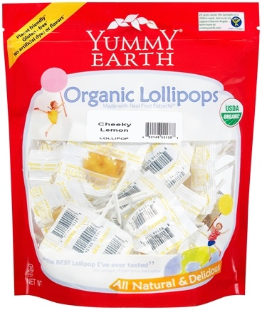 DROPPED: Yummy Earth - Organic Lollipops Gluten Free Cheeky Lemon Flavor - 12.3 oz. CLEARANCE PRICED