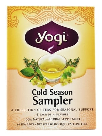 Yogi Tea - Cold Season Tea Sampler Caffeine Free - 16 Tea Bags
