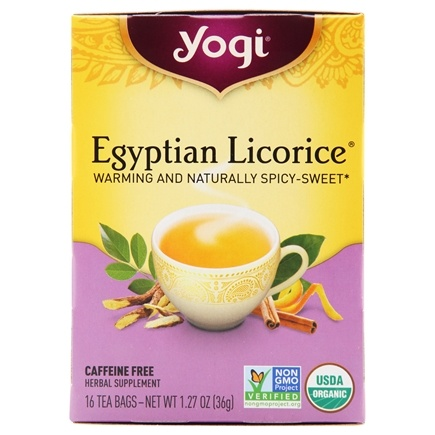 Yogi Tea - Egyptian Licorice Tea Organic Caffeine Free - 16 Tea Bags