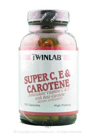 DROPPED: Twinlab - Super C, E & Carotene High Potency - 100 Capsules
