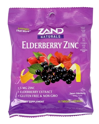 Zand - Herbalozenge Elderberry Zinc Black Elderberry Flavor 5 mg. - 15 Lozenges