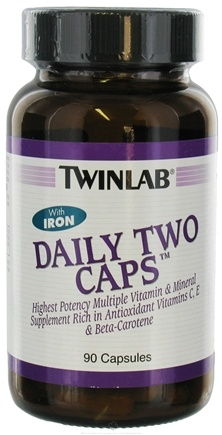 DROPPED: Twinlab - Daily Two Caps Multivitamin & Mineral with Iron - 90 Capsules CLEARANCE PRICED