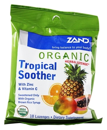 Zand - Herbalozenge Organic Tropical Soother with Zinc & Vitamin C Tropical Fruit Flavor - 18 Lozenges