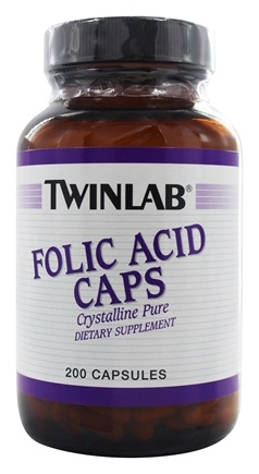 DROPPED: Twinlab - Folic Acid Caps Crystalline Pure 800 mcg. - 200 Capsules