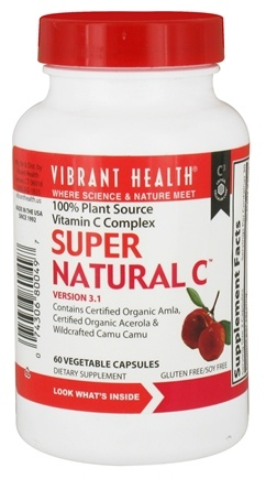 DROPPED: Vibrant Health - Super Natural C Version 3.1 - 60 Vegetarian Capsules CLEARANCE PRICED
