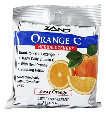 Zand - Herbalozenge Orange C with Vitamin C Orange Flavor - 15 Lozenges