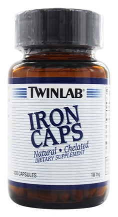 DROPPED: Twinlab - Iron Caps Natural Chelated 18 mg. - 100 Capsules