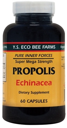 DROPPED: YS Organic Bee Farms - Propolis with Echinacea 400 mg. - 60 Capsules CLEARANCE PRICED