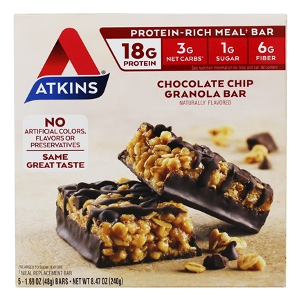 Atkins Nutritionals Inc. - Advantage Meal Bar Chocolate Chip Granola - 5 Bars