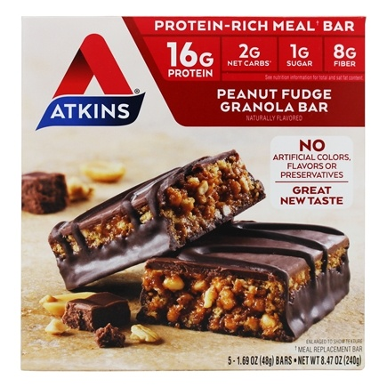 Atkins Nutritionals Inc. - Advantage Meal Bars Peanut Fudge Granola - 5 Bars