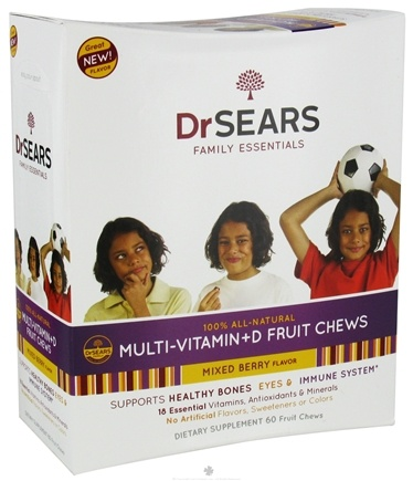 DROPPED: Dr. Sears Family Essentials - Multi-Vitamin + D Fruit Chews For Kids Mixed Berry - 60 Chews