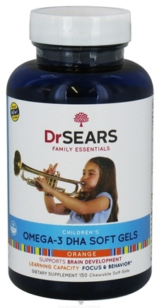 DROPPED: Dr. Sears Family Essentials - Children's Omega-3 DHA Orange Flavor - 150 Softgels Formerly: Dr. Sears Family Approved Go Fish Children's Omega-3