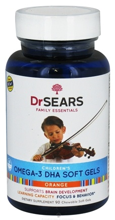 DROPPED: Dr. Sears Family Essentials - Children's Omega-3 DHA Orange Flavor - 90 Softgels Formerly: Dr. Sears Family Approved Go Fish Children's Omega-3 CLEARANCE PRICED