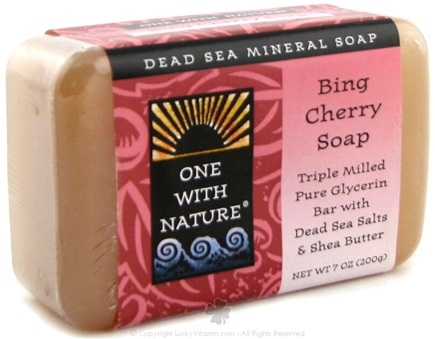DROPPED: One With Nature - Dead Sea Mineral Bing Cherry Soap - 7 oz.