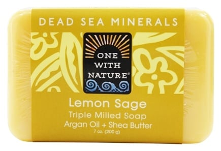 One With Nature - Dead Sea Mineral Bar Soap Mild Exfoliating Lemon Sage - 7 oz.