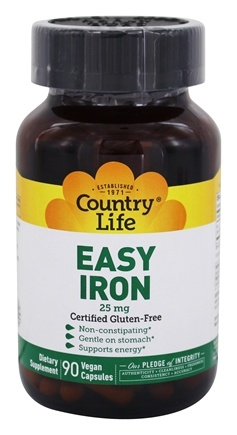 Country Life - Easy Iron 25 mg. - 90 Vegetarian Capsules