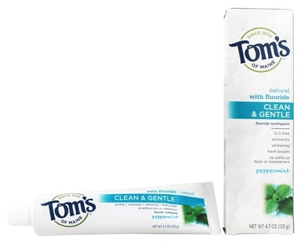DROPPED: Tom's of Maine - Natural Toothpaste Clean & Gentle With Fluoride Peppermint - 4.7 oz.