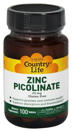 Country Life - Zinc Picolinate Advanced Absorption 25 mg. - 100 Tablets