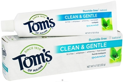 DROPPED: Tom's of Maine - Natural Toothpaste Clean & Gentle Fluoride-Free Spearmint - 4.7 oz. CLEARANCE PRICED