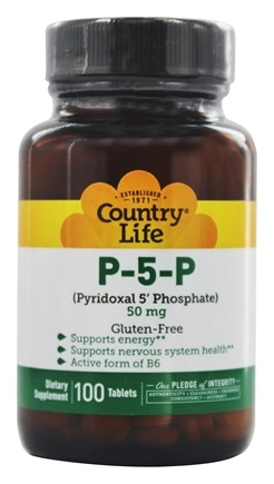 Country Life - P-5-P Pyridoxal 5' Phosphate (P5P) 50 mg. - 100 Tablets