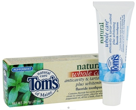 DROPPED: Tom's of Maine - Natural Toothpaste Whole Care With Fluoride Travel Size Peppermint - 0.87 oz. CLEARANCE PRICED
