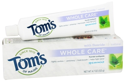 Tom's of Maine - Natural Toothpaste Whole Care With Fluoride Spearmint - 4.7 oz.