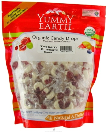 DROPPED: Yummy Earth - Organic Candy Drops Gluten Free TooBerry Blueberry - 13 oz. CLEARANCE PRICED