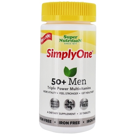 Super Nutrition - Simply One 50+ Men Multi-Vitamin Iron Free - 30 Vegetarian Tablets