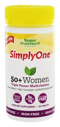 DROPPED: Super Nutrition - Simply One 50+ Women Power Vitamins Iron Free - 30 Vegetarian Tablets CLEARANCE PRICED