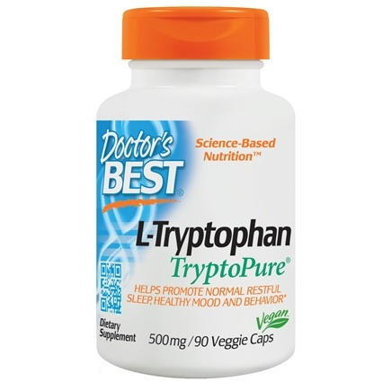 Doctor's Best - Best L-Tryptophan featuring TryptoPure 500 mg. - 90 Vegetarian Capsules